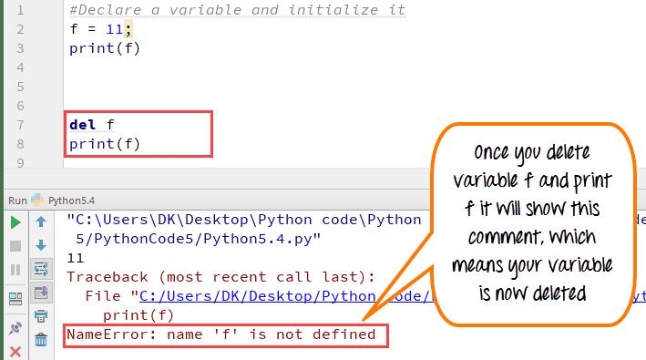 Delete-a-variable-sample-program